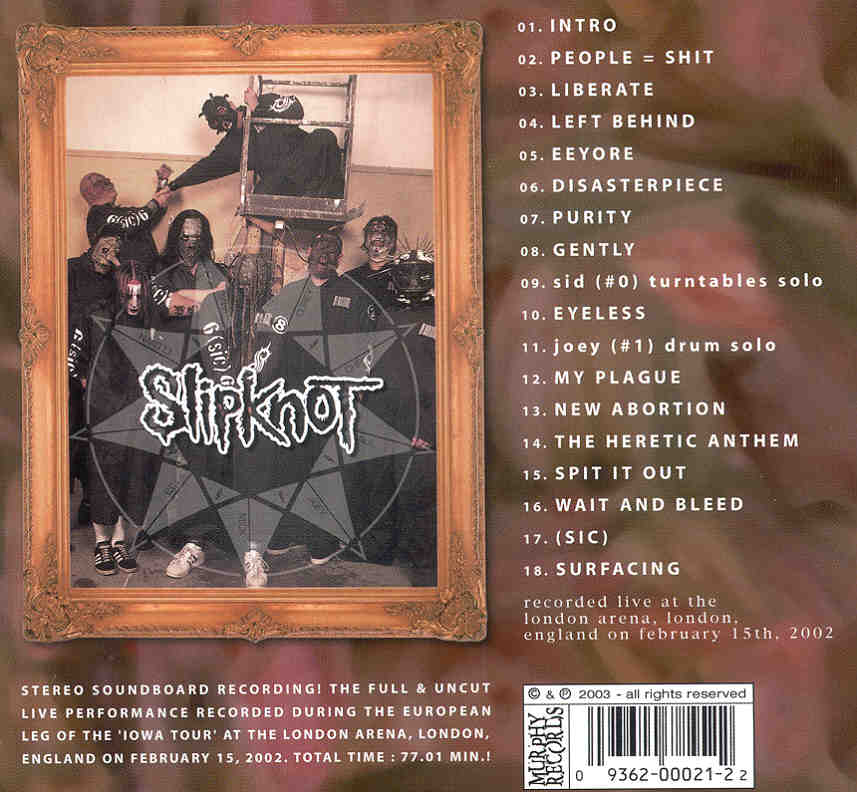 Slipknot Live Disaster London Arena London Uk February 15th 2002 Thepinkcd